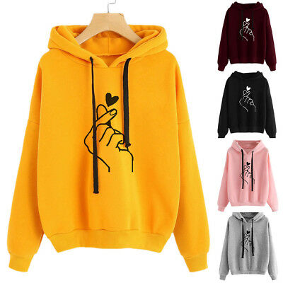 Casual Woman Tops Personality Warm Loose Long Sleeve Printing Hooded New