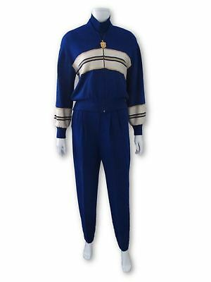 ST JOHN COLLECTION By Marie Gray 3 Piece Pants Suit Blue Wool Knit Sz Small