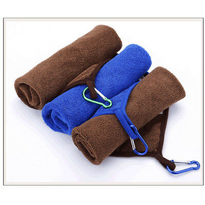 2PCS Cotton Fishing Golf Towel with Buckle Thickening Absorbent Sports Towel