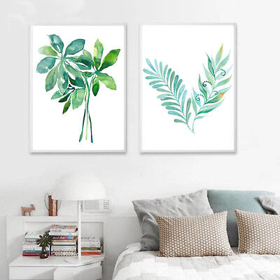 Watercolor Green Plant Leaves Canvas Painting Poster Room Picture Home Decor