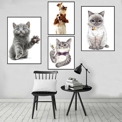 Lovely Kitten Cat Canvas Art Painting Poster Picture Wall Home Kids Room Decor