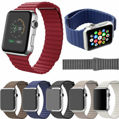 Leather Loop Magnetic Loop Watch Band For Apple Watch iWatch 4/3/2/1 Red