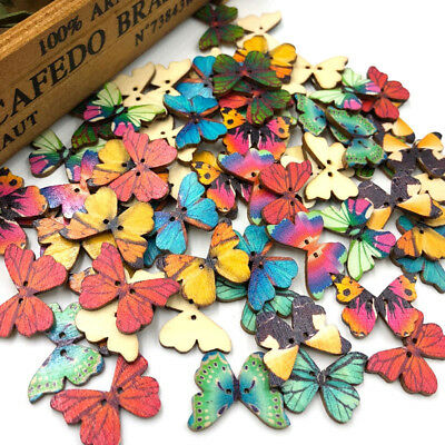 50Pcs Mixed Wooden Buttons Floral Butterfly 2 Hole Fit Sewing DIY Scrapbook New