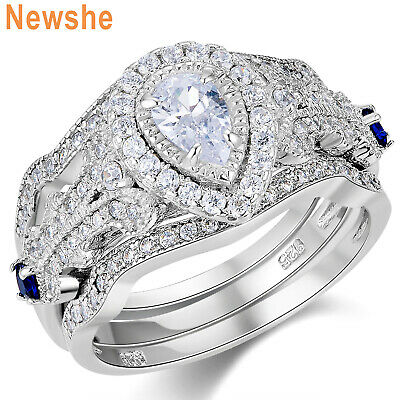 Newshe Wedding Engagement Ring 3pcs Set Women Pear Cz 925 Sterling Silver 5-10