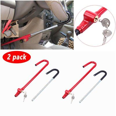 2X Anti-Theft Universal Heavy Duty Car Pedal Brake Clutch Steering Wheel Lock MA