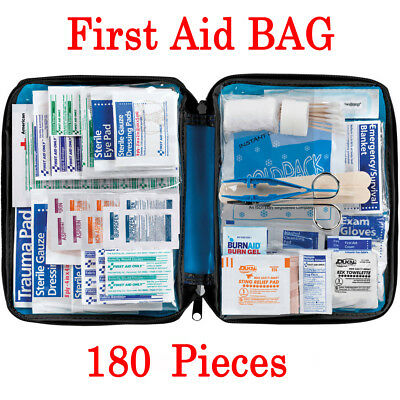 180 Piece First Aid Kit Bag Medical Emergency Kit Travel Home Car Taxi Workplace