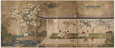 Japanese antique screen painting Horse in stable Samurai enjoy amusement aside 1