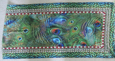 SCARF colourful PEACOCK design BLING BEADS green Blue red ORANGE FASHION ladies