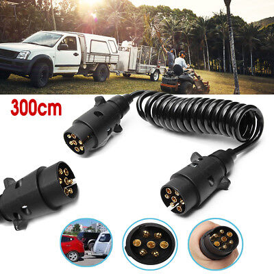 3M 7 Pin Trailer Light Board Extension Cable Lead Plug Socket Wire Truck Car RV