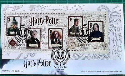 2018 Harry Potter Professors Ex-PSB on one First Day Cover Badger Rd postmark