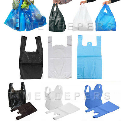 Carrier Bags Plastic Vest Shopping Strong Blue White Black Multiple Sizes