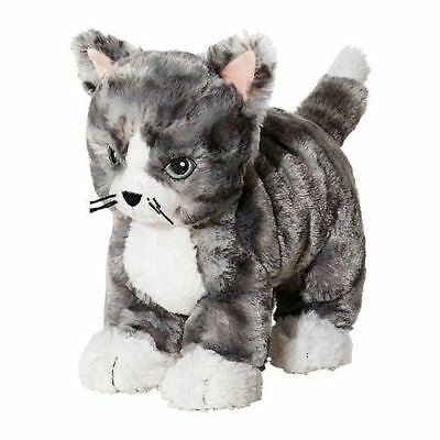 NEW GRAY WHITE CUDDLY CAT CUDDLY SOFT TOY KITTEN TEDDY BY IKEA LILLE PLUTT Sale