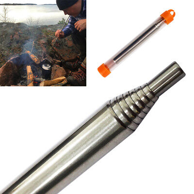Outdoor Camping Survival Stainless Steel Blow Fire Tube Portable Fire Starter