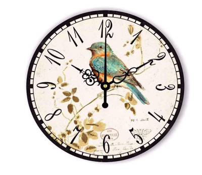 Wall Clock Farmhouse Vintage Large Retro Rustic Wood Country Decor Bird Tuscan
