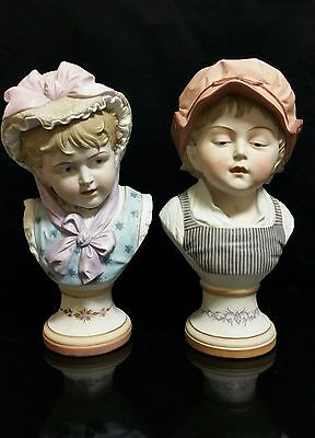 Vintage Antique Old Pair German Porcelain Bisque Victorian Busts Exquisite