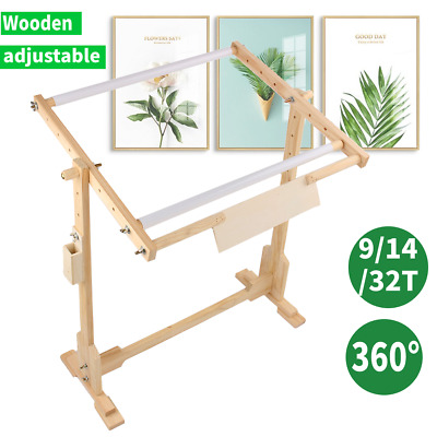 Wooden Adjustable Cross Stitch Frame Tabletop Floor Stand Embroidery 3 Size UK