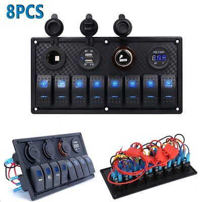 8PACK Waterproof 8-Gang Switch Panel USB Charger Adapter Rocker LED Voltmeter MA