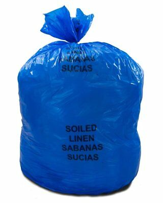 """Soiled Linens Trash Bags 30"""" x 43"""". Pack of 200 Blue Medical Waste Bags."""