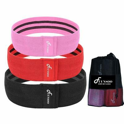 Set of 3 Resistance Loop Bands Yoga Crossfit Fitness Pilates Exercise Workout US