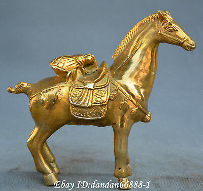 Chinese fengshui old Bronze horse Fly Make a fortune at once win yuanbao Statue