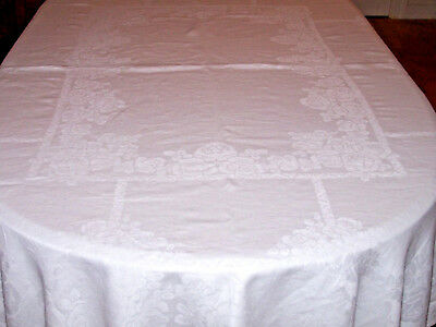 "VINTAGE IRISH LINEN DAMASK TABLECLOTH, ROSE DESIGN, 85"", HAND ROLLED HEM, c1930"
