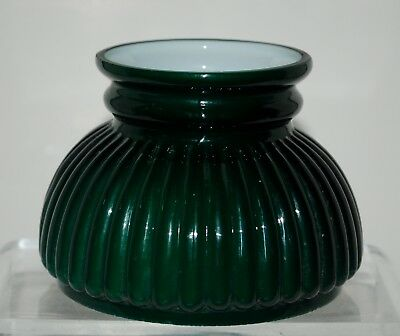 """Emerald Green Ribbed Cased Glass Miniature Oil Lamp Shade. 3 and 7/8"""""""