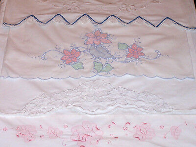 4 Outstanding Vintage Embroidered Pillowcases, Cutwork, Whitework, Ex. Cond 1930