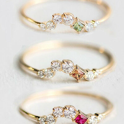 Fashionable Crystal Geometric Finger Ring for Women Ladies Jewelry LH