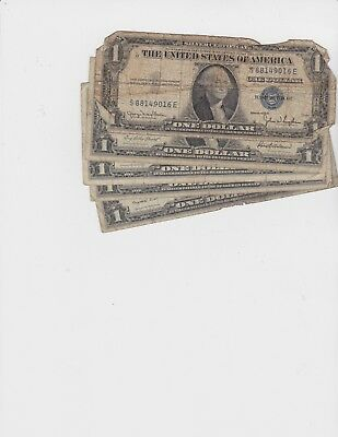 Lot of Five (5) 1935 or 1957 Series $1 Dollar Silver Certificate Blue Seal Notes
