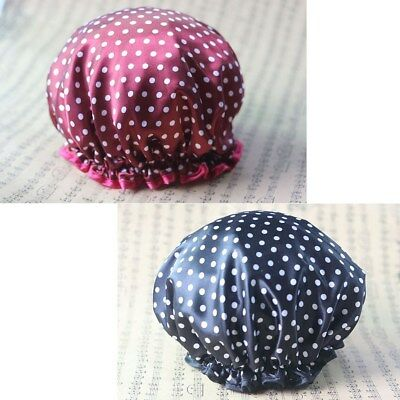2pcs Bath Cap Double-deck Waterproof Small Dot Bath Hat for Shower Spa making up