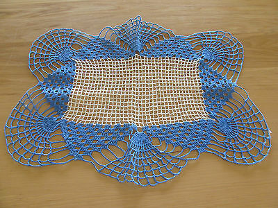 Vintage Blue And White Crochet Doily 15 X 18