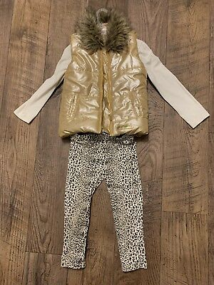 Juicy Couture Girls Golden Tone Set Of 3 Shirt,Leggings And Vest, Size 4T Cute