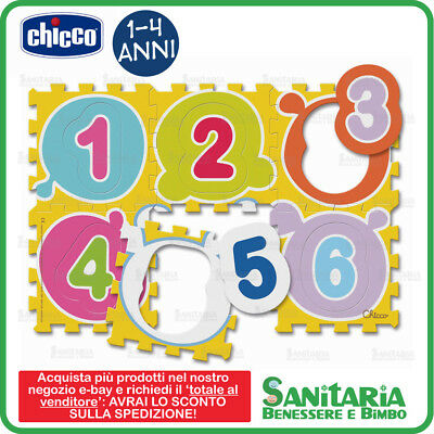 Chicco Gioco Playmat Tappeto Puzzle Numeri First Numbers 6 Pezzi Lavabile