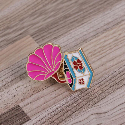 Chic Drip Oil Gramophone Butterfly Design Brooch Pin Collar Badge Jacket Decor N