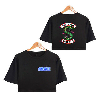Southside Riverdale Serpents Women T-shirt Short Crop Top Female Sexy Pullover