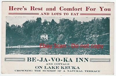 RARE Advertising Card Be-Ja-Vo-Ka Inn Cottage  (now Haunted)  Keuka Lake NY 1915