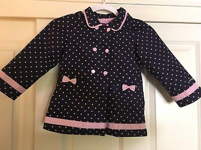 Girls Navy Blue & Pink Polka Dot London Fog Rain Coat Size 5