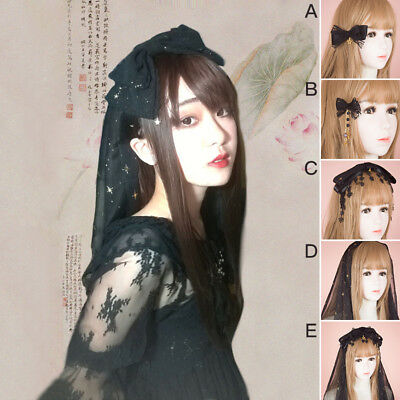 Gothic Lolita Black Veil Bowknot Headband Clip Lace Headdress Hair Accessories