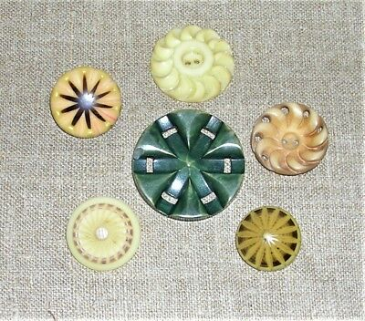 """Vintage Unusual Carved Plastic Buttons, 1"""" to 2 5/8"""", Green, Cream, Lot of 6"""