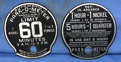 2-VINTAGE •PARK-O-METER• OLD car GM/Chevy Ford Mopar auto parking coin  op•SIGNS•