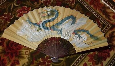 """Genuine Large Chinese Fan Hand Painted Wall  Dragon Signed By Artist Vintage 50"""""""