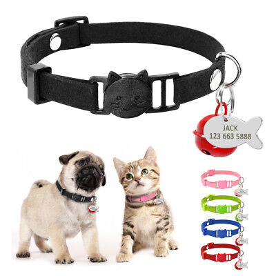 Personalized Suede Dog Cat Breakaway Collar&Anti-lost ID Name Tag Quick Release