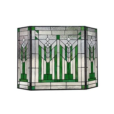 Stained Glass Fireplace Screen Mission Design Tiffany Style