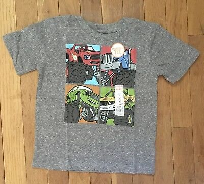 NWT Boys Size 4T Blaze and the Monster Machines Short Sleeve T-Shirt Gray Tee