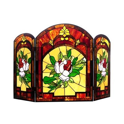 Stained Glass Fireplace Screen Victorian Floral Design Tiffany Style
