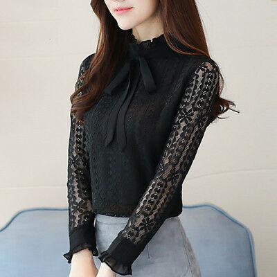Fashion Women Lace Shirt Long Sleeve Slim Bow Tie Neck Casual Office Blouse Tops