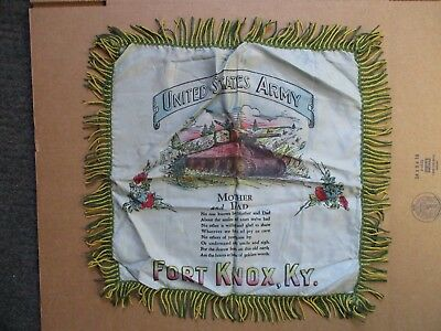 Vintage WWII era US Army FORT KNOX Armor Silk Pillow Cover