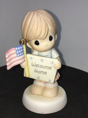 PRECIOUS MOMENTS FIGURINE Welcome Home My Hero 2007 American Flag #740020