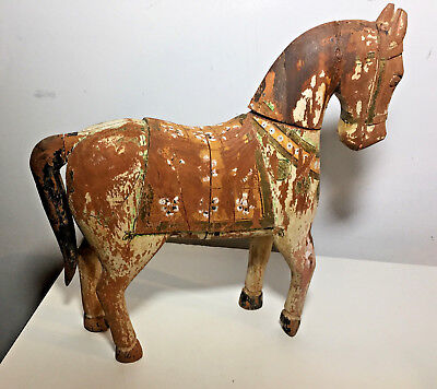 """Vtg Antique Wood Horse Hand Made India? Polychrome W/ Age Distressed 12"""" Large"""