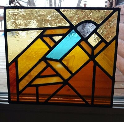 VTG Artisan Stained Glass Heavy Panel Nordic Cross Country Skier Geometric Art